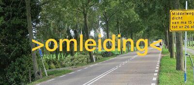 Omleidingsroute i.v.m. afsluiting toegangsweg naar Moordrecht