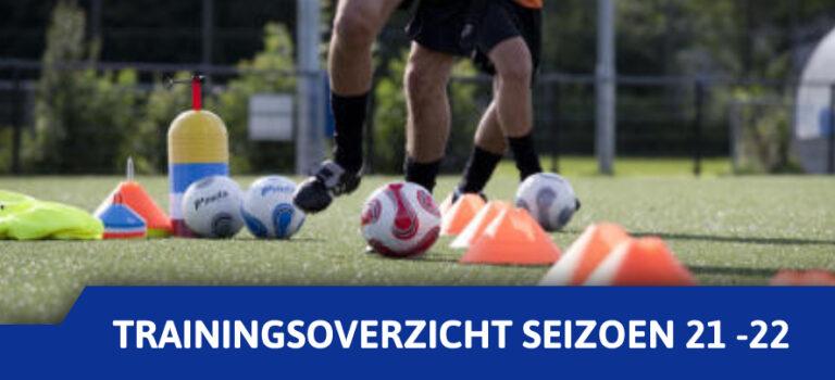 Trainingstijden voor het seizoen 2021 -2022.